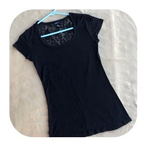 5/$10 Rue 21 Black With Lace T-shirt Medium